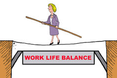 Work Life Balance. Business cartoon of businesswoman walking a tightrope that is titled 'work life balance Royalty Free Stock Images