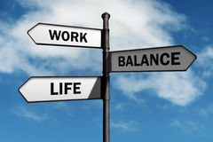Work life balance choices. Work-life balance road sign concept for healthy lifestyle and wellbeing choice Royalty Free Stock Photo