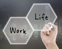 Work life balance in cityscape background royalty free stock photography