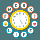 Work Life Balance Clock Concept. A clock showing 5 o'clock in the middle and a series of icons to convey the concept of a healthy work-life balance during a Stock Image