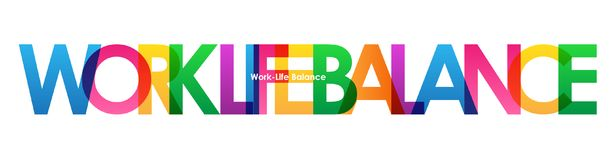 WORK-LIFE BALANCE colorful overlapping letters banner. Vector.  Rainbow palette Stock Photos