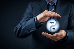Work life balance. Work life (work-life) balance concept. Life coach (career manager) give advice about work-life balance, wide composition Royalty Free Stock Image
