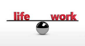 Work Life Balance Concept. Work-life balance conceptual 3d illustration with life and work red sign balancing on a metal sphere Royalty Free Stock Image