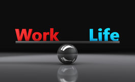 Work Life Balance. Concept 3d illustration with balancing words on a metal sphere royalty free illustration