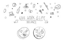 Work life balance concept doodle illustration Royalty Free Stock Images