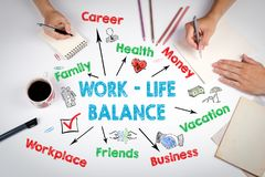 Work life balance concept. The meeting at the white office table.  Royalty Free Stock Images