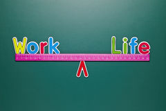 Work and life balance concept with words and drawing Stock Photography