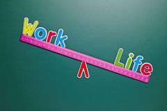 Work and life balance concept with words and drawing Royalty Free Stock Photos
