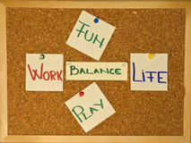 Work Life Balance with fun an play. Post it notes on a wooden board representing the Work-Life Balance concept Royalty Free Stock Images
