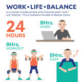 Work Life Balance Infographic Illustration Flat. Design Stock Image