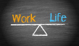Work-Life Balance - seesaw with text on chalkboard. Or blackboard background stock illustration