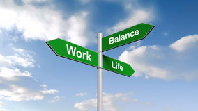 Work life balance signpost against blue sky stock video footage