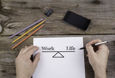 Work Life Balance. Text on a sheet of paper. Royalty Free Stock Photo
