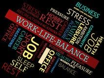 WORK-LIFE-BALANCE - wizerunek z słowami kojarzącymi z temat równowagą, słowo chmura, sześcian, list, wizerunek, ilustracja Zdjęcie Stock