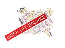 WORK-LIFE-BALANCE - wizerunek z słowami kojarzącymi z temat równowagą, słowo chmura, sześcian, list, wizerunek, ilustracja Obrazy Stock