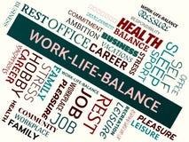 WORK-LIFE-BALANCE - wizerunek z słowami kojarzącymi z temat równowagą, słowo chmura, sześcian, list, wizerunek, ilustracja Obraz Stock