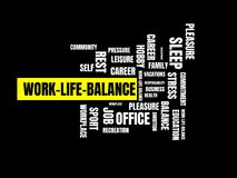 WORK-LIFE-BALANCE - wizerunek z słowami kojarzącymi z temat równowagą, słowo chmura, sześcian, list, wizerunek, ilustracja Fotografia Royalty Free