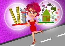 Work life balance. Woman balance work life concept illustration stock illustration