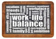 Work life balance word cloud. Work life balance concept - a word cloud on a vintage slated blackboard stock image