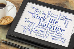 Work life balance word cloud on tablet. Work life balance word cloud - word abstract on a digital tablet with a cup of coffee royalty free stock photography