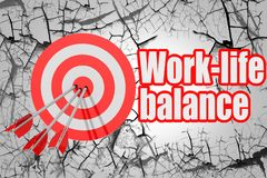 Work-life balance word with red arrow and board stock illustration
