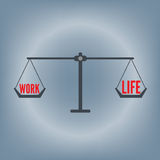 Work life balance wording on weight scale concept, vector illustration in flat design background Stock Photography