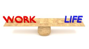 Work-life balance: words on a wooden seesaw Stock Images