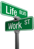 Work or Life decision street signs Stock Photo