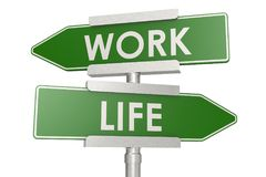 Work and life on green road sign stock illustration