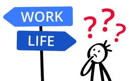 WORK or LIFE, which way to go? Stick figure pondering decision, choice, balancing, direction sign, career or spare time. Isolated on white background Stock Photo