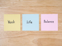 Work life 17. Word Work Life Balance on colorful note paper with wood background Stock Photo