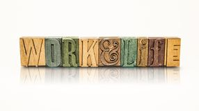 Work and Life Word Block Letters - Isolated White Background Royalty Free Stock Photo