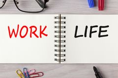Work or Life written on notebook concept royalty free stock photography