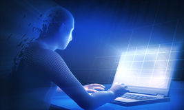 Work. Light from laptop and virtual human Royalty Free Stock Photo