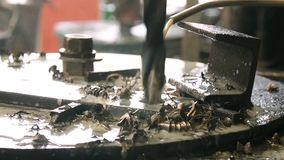 Work machine drills for metal. Drill stock video