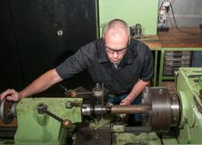 At work in a machine shop Royalty Free Stock Photo