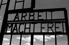 Work makes freedom (arbeit macht frei). Writing on the entrance door of a Nazi concentration camp Royalty Free Stock Image