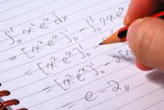 Work on a mathematics question Stock Image