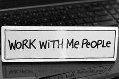 Work With Me People Sign Stock Photo