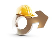 Work for men, symbol man construction helmet. On a white background Stock Photography