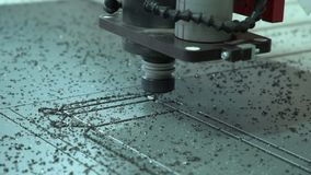 Work of a mill. Close up. The milling cutter engraves material. Close up of work stock video footage