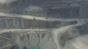 Work in a mining career. development of the career. aerial view stock footage