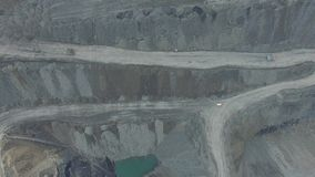 Work in a mining career. development of the career. aerial view stock video