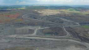 Work in a mining career. development of the career. aerial view stock video footage