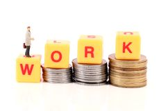 Work and money. Concept shot showing work and money stock photos