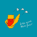 Less work more fun poster with cat. Colorful motivation card design with lettering. Hand drawn vector illustration Royalty Free Stock Image