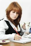 At work in the office. With morning coffee stock images
