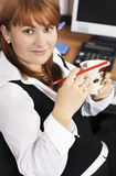 At work in the office. With morning coffee royalty free stock images