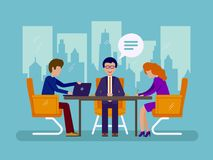 Work in office. Business negotiations at table in room. Vector illustration Royalty Free Stock Photos
