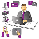 Work at office. Business at office.Vector  illustration Stock Photography